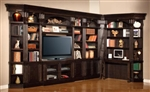 Venezia 10 Piece 50-Inch TV Console Bookcase Entertainment Library Wall in Vintage Burnished Black Finish by Parker House - VEN-401-10