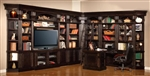 Venezia 13 Piece 50-Inch TV Console Bookcase Entertainment Library Wall in Vintage Burnished Black Finish by Parker House - VEN-401-13
