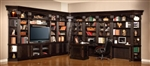 Venezia 15 Piece 50-Inch TV Console Bookcase Entertainment Library Wall in Vintage Burnished Black Finish by Parker House - VEN-401-15