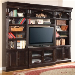 Venezia 4 Piece 50 Inch TV Console Bookcase Entertainment Library Wall In  Vintage Burnished Black Finish By Parker House   VEN 401 4