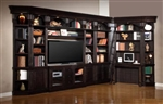 Venezia 10 Piece 60-Inch TV Console Bookcase Entertainment Library Wall in Vintage Burnished Black Finish by Parker House - VEN-402-10