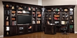 Venezia 13 Piece 60-Inch TV Console Bookcase Entertainment Library Wall in Vintage Burnished Black Finish by Parker House - VEN-402-13
