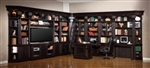 Venezia 15 Piece 60-Inch TV Console Bookcase Entertainment Library Wall in Vintage Burnished Black Finish by Parker House - VEN-402-15