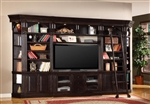 Venezia 6 Piece 60-Inch TV Console Bookcase Entertainment Library Wall in Vintage Burnished Black Finish by Parker House - VEN-402-6