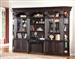 Venezia 6 Piece Bookcase Library Wall with Library Desk in Vintage Burnished Black Finish by Parker House - VEN-460-2-6