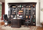 Venezia 7 Piece Peninsula Desk Bookcase Library Wall in Vintage Burnished Black Finish by Parker House - VEN-490-2-7