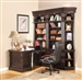 Venezia 5 Piece Peninsula Desk Bookcase Library Wall in Vintage Burnished Black Finish by Parker House - VEN-490-2-L