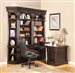 Venezia 5 Piece Peninsula Desk Bookcase Library Wall in Vintage Burnished Black Finish by Parker House - VEN-490-2-R