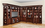Wellington 11 Piece 60 Inch TV Console Bookcase Library Wall in Vintage Brown Mahogany Finish by Parker House - WAL-412-11