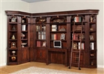 Wellington 8 Piece Corner Library Wall with Desk in Vintage Brown Mahogany Finish by Parker House - WAL-412-8