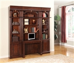 Wellington 4 Piece Home Office Bookcase Library Wall with Desk in Vintage Brown Mahogany Finish by Parker House - WEL-460-2-4