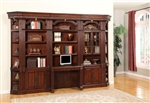 Wellington 6 Piece Home Office Bookcase Library Wall with Desk in Vintage Brown Mahogany Finish by Parker House - WEL-460-2-6