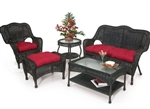 Olivia 2 Piece Outdoor Patio Set in Ebony Finish by Palm Springs Rattan - 3602-S