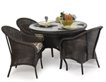 Hampton 5 Piece Round Dining Table Set in Antique Black Finish by Palm Springs Rattan - 848GR-AB