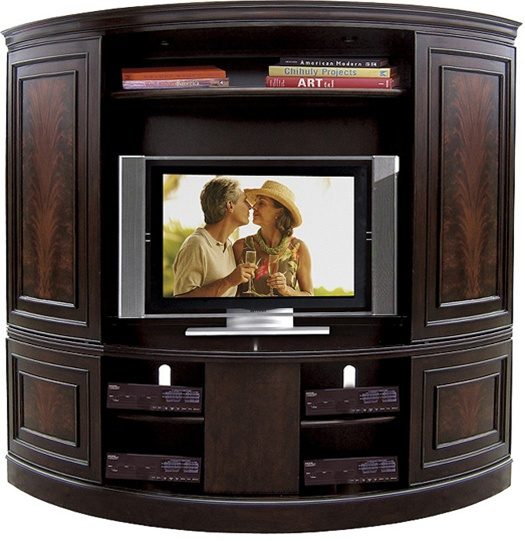 affinity curved sliding double door tv console with deck in cocoa finish by riverside 12087. Black Bedroom Furniture Sets. Home Design Ideas