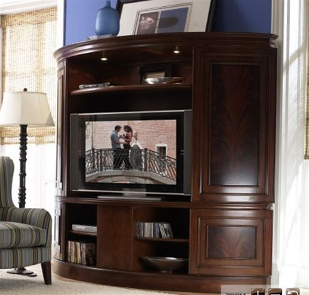 Affinity Curved Sliding Double Door Tv Console With Deck