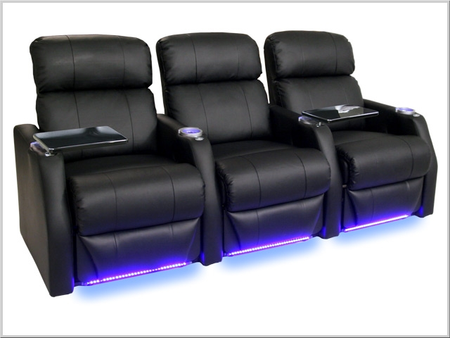Charming Sienna Theater Seating   3 Leather Chairs By SeatCraft 1081   Manual Recline