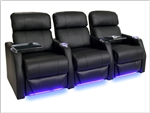 Sienna Theater Seating - 3 Leather Chairs By SeatCraft 1081 - Power Recline