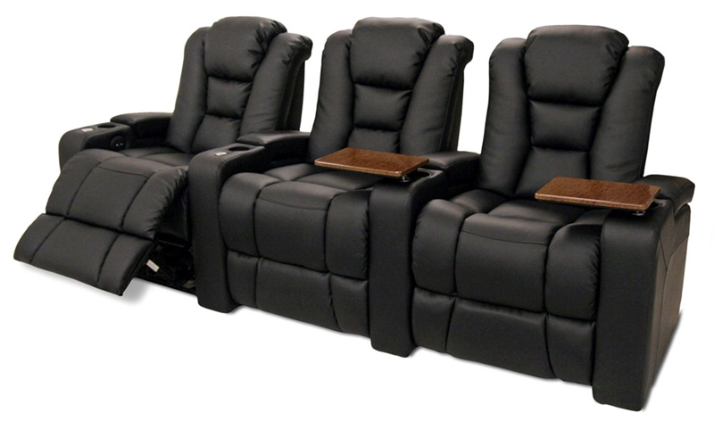 Meridian Theater Seating 3 Black Bonded Leather Chairs By