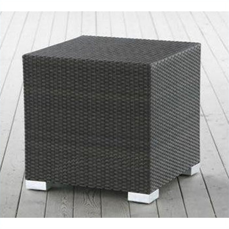 King Small Cube Side Table In Espresso Resin Wicker (17x 17x 25) By Source