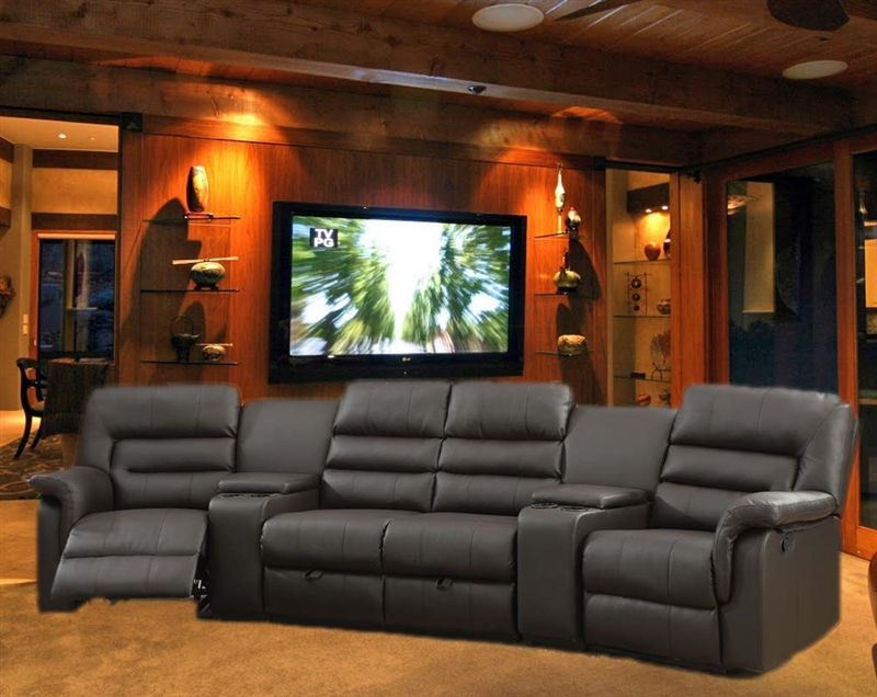 Bardi Theater Seating 5 Piece Espresso Home Theater