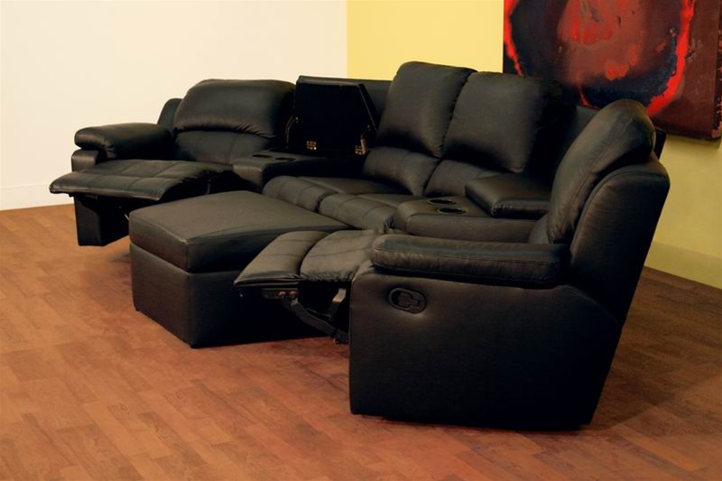 Boden 7 Piece Black Leather Theater Seating Sectional By Theatre Delux - 8802-B : leather theater seating sectionals - Sectionals, Sofas & Couches