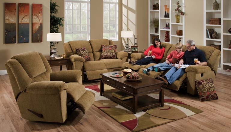 Transformer 2 Piece Beige Fabric Reclining Sofa Set by Catnapper - 19445-S