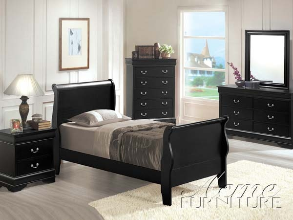 Louis Philippe II 4 Piece Youth Bedroom Set With Hidden Drawers In Black  Finish By Acme   00420T HD