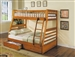 Jason Honey Oak Finish Twin/Full Bunk Bed with Drawers by Acme - 02018