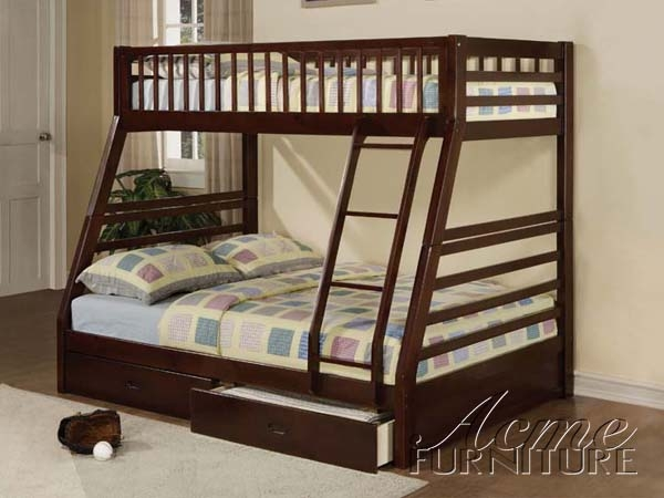 Jason Espresso Finish Twin Full Bunk Bed with Drawers by Acme