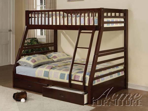 Espresso Finish Twin Full Bunk Bed