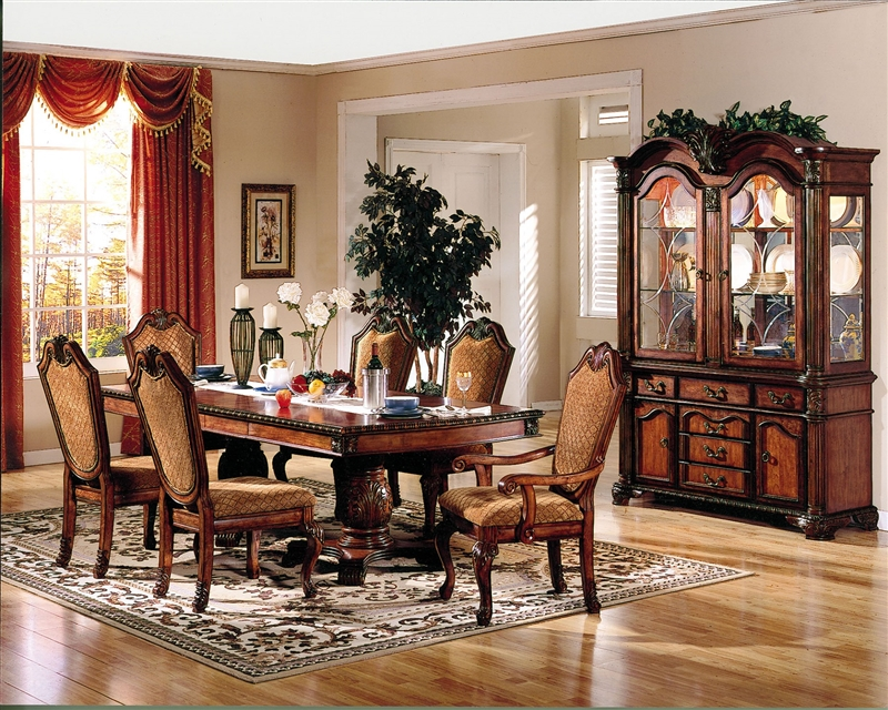 Chateau De Ville Double Pedestal Table 7 Piece Dining Set In Cherry Finish By Acme 04075