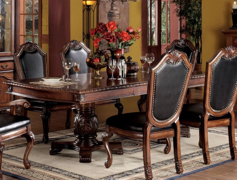 Chateau De Ville Double Pedestal Table 7 Piece Dining Set In Cherry Finish By Acme 04075 L