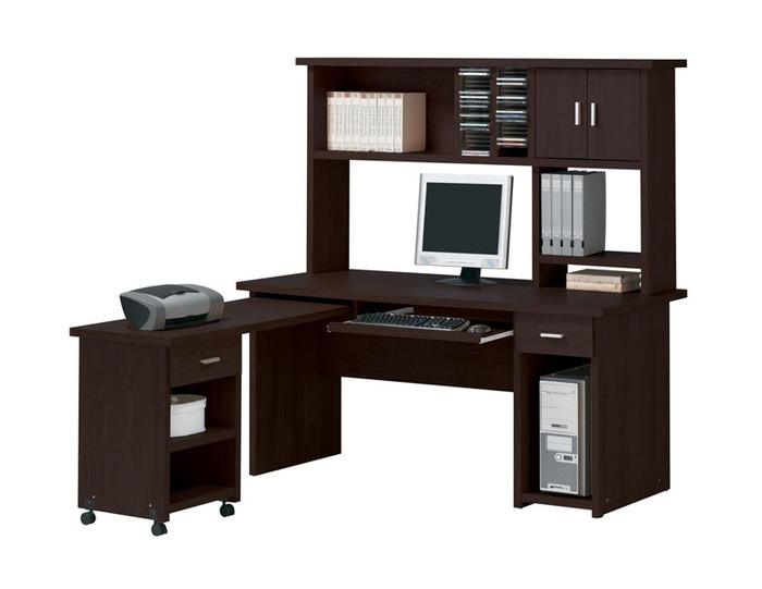 Linda 3 Piece Computer Desk With Hutch, Espresso Office Desk