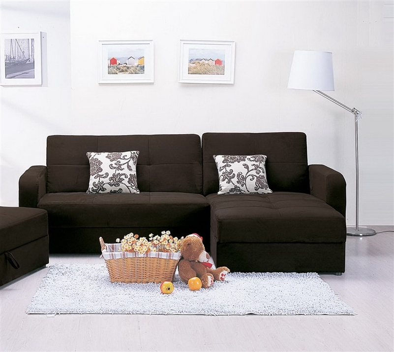 Mulberry Chaise Sectional Sofa With Storage In Brown Microfiber Cover By  Acme   05770