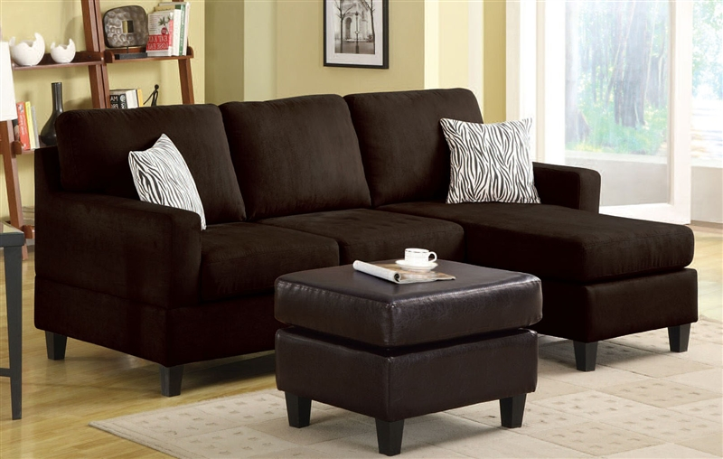Vogue Reversible Chaise Sectional In Chocolate Microfiber By Acme 05907 Larger Photo