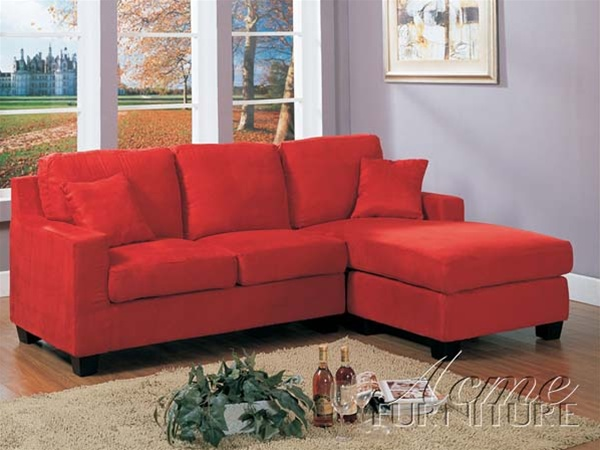 Vogue Reversible Chaise Sectional In Red Color Fabric By Acme 05917 Larger Photo
