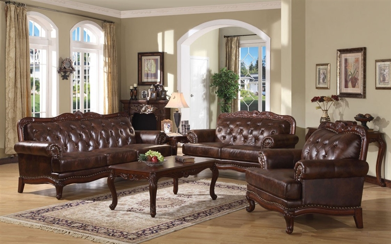 Birmingham 2 Piece Tri-Tone Brown Leather Living Room Set by Acme - 05945-S