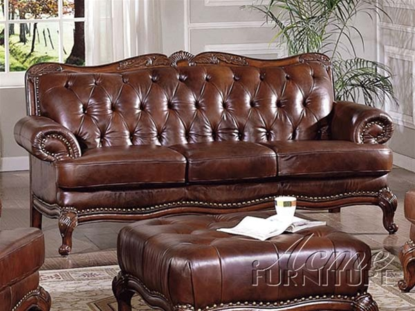 Tremendous Birmingham Tri Tone Brown Leather Ottoman By Acme 05948 Gmtry Best Dining Table And Chair Ideas Images Gmtryco