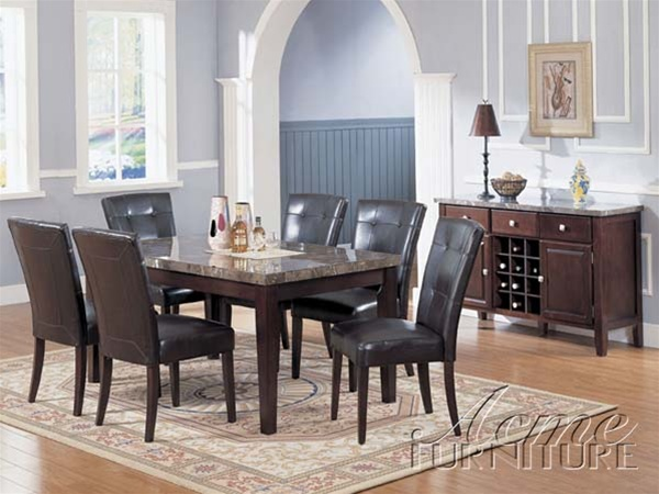 Danville 7 Piece Black Marble Top Dining Set In Espresso Finish By Acme    07058