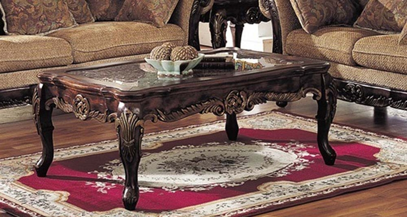 bordeaux marble top gold brushed coffee table in brown finish