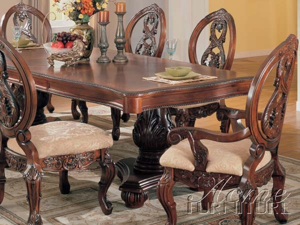Versailles Cherry Finish 7 Piece Pedestal Dining Table Set By Acme   09955