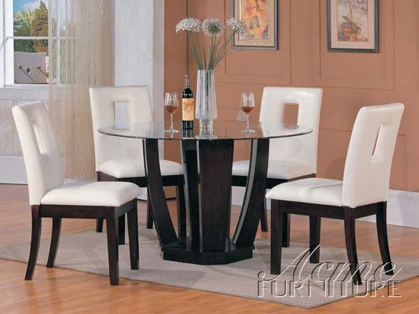 Bethany 5 piece espresso finish dining table set by acme for Comedores minimalistas