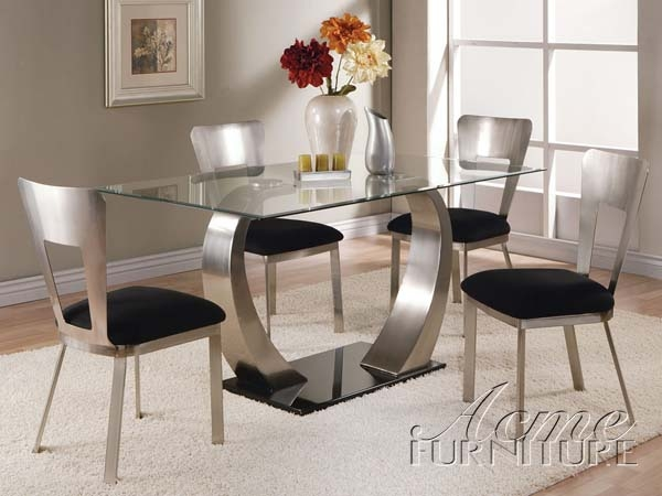 5 Piece Glass & Metal Table Set by Acme - 10090