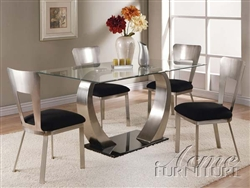 Camille 5 Piece Glass & Metal Table Set by Acme - 10090