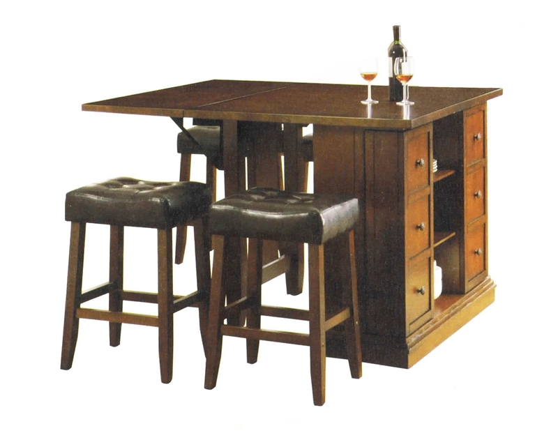 Kitchen island dark oak finish counter height 3 piece for Kitchen island table with chairs
