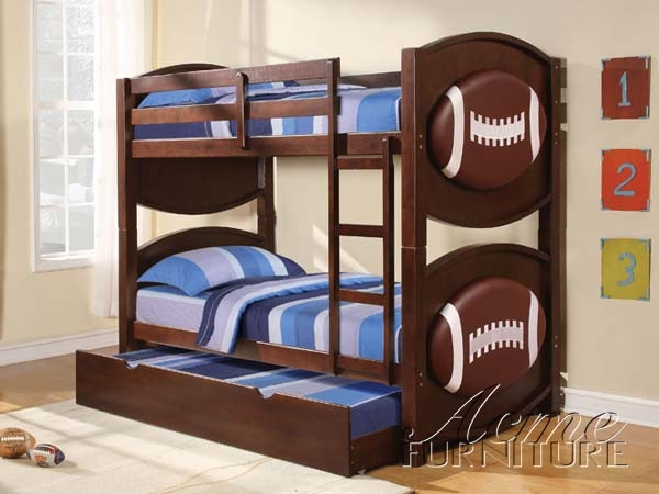 All Star Football Espresso Finish Twin Twin Bunk Bed By Acme 11956