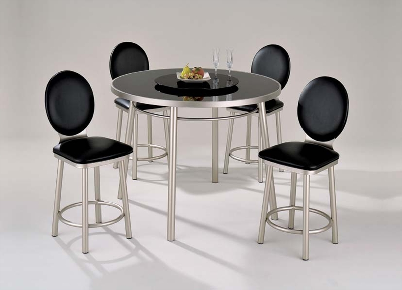 Madera 5 Piece Black Print Glass Top Counter Height Table Set By Acme    12124