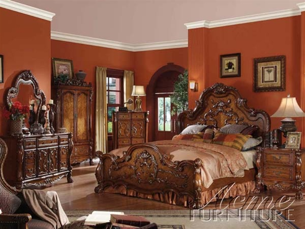 Dresden 6 Piece Bedroom Set In Cherry Finish By Acme 12140