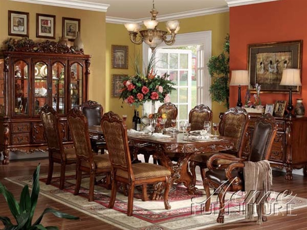 dresden 7 piece dining set in cherry finishacme - 12150